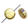 Glass Beads 8mm Round Flat With Hole Metallic Gold